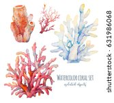 watercolor coral set... | Shutterstock . vector #631986068