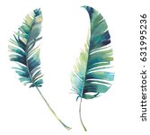 watercolor tropical leaves set. ... | Shutterstock . vector #631995236