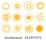 set of hand drawn chalk sun... | Shutterstock .eps vector #631997372
