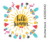 summer holiday cards. hand... | Shutterstock .eps vector #632002442