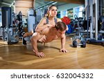 a couple doing push ups on ... | Shutterstock . vector #632004332