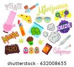 set of marijuana cartoon... | Shutterstock .eps vector #632008655