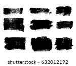 set of black paint  ink brush... | Shutterstock .eps vector #632012192