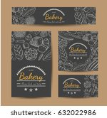 set of vector cards with bakery ... | Shutterstock .eps vector #632022986