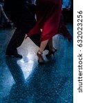 Small photo of Detail of tango dancers in milonga ballroom