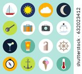 travel icons set in trendy flat ... | Shutterstock .eps vector #632023412