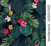 seamless hand drawn tropical... | Shutterstock .eps vector #632032502