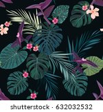 seamless tropical vector... | Shutterstock .eps vector #632032532
