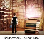Small photo of Adventure story and fairy tale. Tiny boy and books with magic glowing on table at library