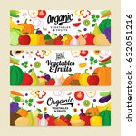 vector vegetables and fruits... | Shutterstock .eps vector #632051216