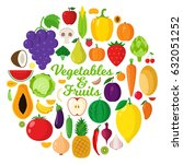 vector vegetables and fruits... | Shutterstock .eps vector #632051252