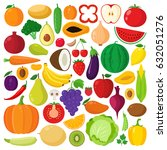 vector collection of vegetables ... | Shutterstock .eps vector #632051276