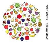 set of fresh organic fruit... | Shutterstock .eps vector #632053532