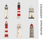 set of different lighthouses on ... | Shutterstock .eps vector #632054312