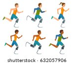 disabled runner vector flat... | Shutterstock .eps vector #632057906