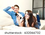 beautiful girl and a young man... | Shutterstock . vector #632066732