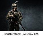 bearded soldier in combat... | Shutterstock . vector #632067125