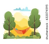 summer hammock with trees in...   Shutterstock .eps vector #632074595