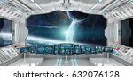 spaceship interior with view on ... | Shutterstock . vector #632076128