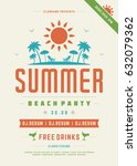 retro summer party design... | Shutterstock .eps vector #632079362