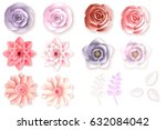 Stock vector paper flowers can be used as invitation card for wedding birthday and other holiday and summer 632084042