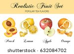 vector realistic fruits set... | Shutterstock .eps vector #632084702