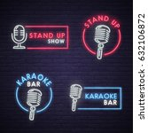 stand up and karaoke bar neon... | Shutterstock .eps vector #632106872