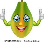 cartoon papaya giving thumbs up....   Shutterstock .eps vector #632121812
