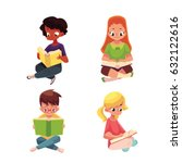 set of children  boys and girls ... | Shutterstock .eps vector #632122616