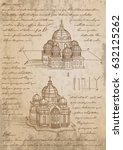 leonardo da vinci basilica... | Shutterstock .eps vector #632125262