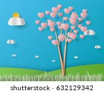 beautiful heart tree on blue... | Shutterstock .eps vector #632129342