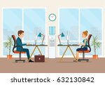 office workers sitting at the... | Shutterstock .eps vector #632130842