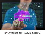 man touching a digital smart... | Shutterstock . vector #632152892