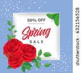 spring sale lettering with roses | Shutterstock .eps vector #632156528