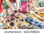 group of friends enjoying... | Shutterstock . vector #632158826