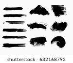 set of black paint  ink brush... | Shutterstock .eps vector #632168792