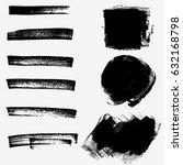 set of black paint  ink brush... | Shutterstock .eps vector #632168798