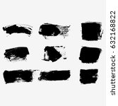 set of black paint  ink brush... | Shutterstock .eps vector #632168822