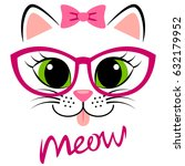 Stock vector cute white kitten with pink bow and glasses girlish print with kitty for t shirt 632179952