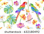 tropical summer. seamless... | Shutterstock .eps vector #632180492