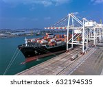 cargo ship loading cargo into... | Shutterstock . vector #632194535