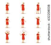 elderly woman diseases  pain... | Shutterstock .eps vector #632208038