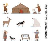 eskimo characters in... | Shutterstock .eps vector #632208152