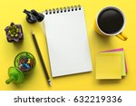 notebook on office table with a ... | Shutterstock . vector #632219336