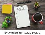 top view notebook with goals...   Shutterstock . vector #632219372