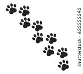 paw print vector icon. dog or... | Shutterstock .eps vector #632223242