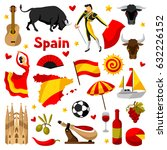 spain icons set. spanish... | Shutterstock .eps vector #632226152