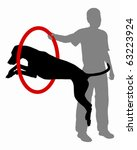 agility,animal,background,black,color,dog,hoop,human,illustration,isolated,jump,people,pet,play,silhouette