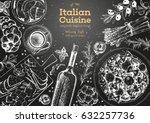 italian cuisine top view frame. ... | Shutterstock .eps vector #632257736