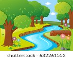 scene with river and trees... | Shutterstock .eps vector #632261552